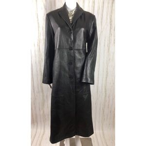 Anne Klein Black Genuine Leather Full Length Coat